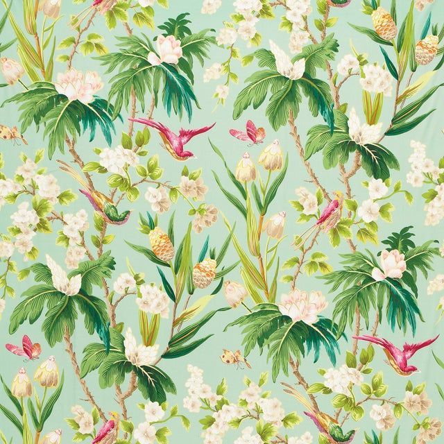 Contemporary Sample - Schumacher Seychelles Wallpaper in Sea For Sale - Image 3 of 3