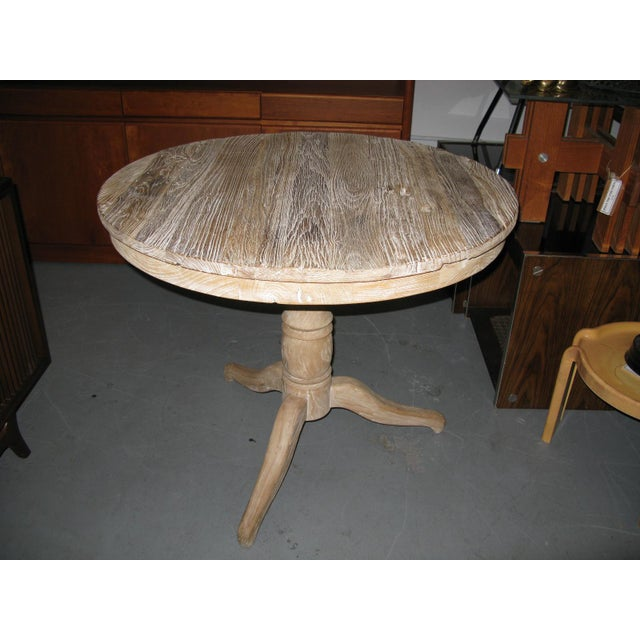 White Round Distressed Table For Sale - Image 9 of 9