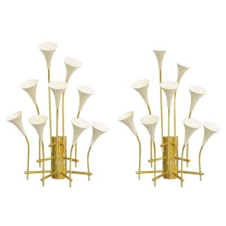 Two Pairs of Trumpets Sconces by Fabio Ltd For Sale