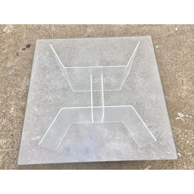 Glass Mid-Century Modern Coffee Table With Lucite Geometric Base and Square Glass Top For Sale - Image 7 of 8