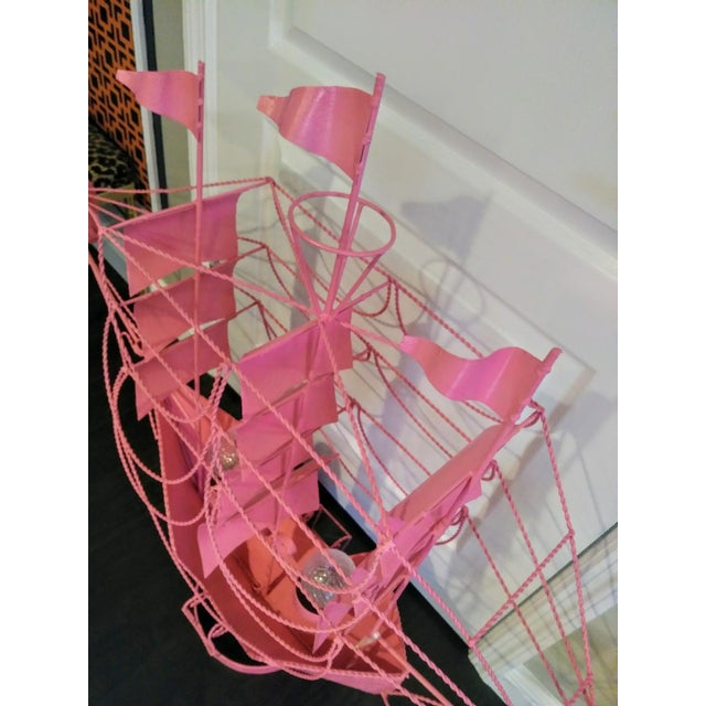 Monumental Hot Pink Custom Coastal Sailing Ship 2 Light Table Lamp Light Fixture For Sale In West Palm - Image 6 of 9