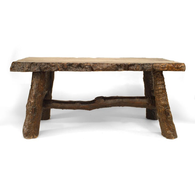 Wood Rustic American Adirondack Style, Walnut Top Dining Table For Sale - Image 7 of 7