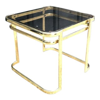 Milo Baughman Style Brass Glass-Top Side Table For Sale