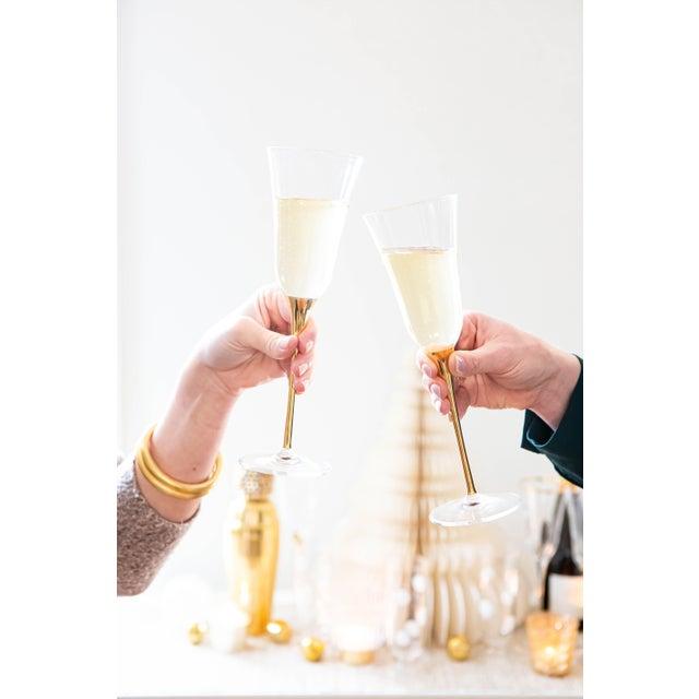 Kenneth Ludwig Chicago Kenneth Ludwig Chicago Optical Gold Stem Champagne Flutes For Sale - Image 4 of 5