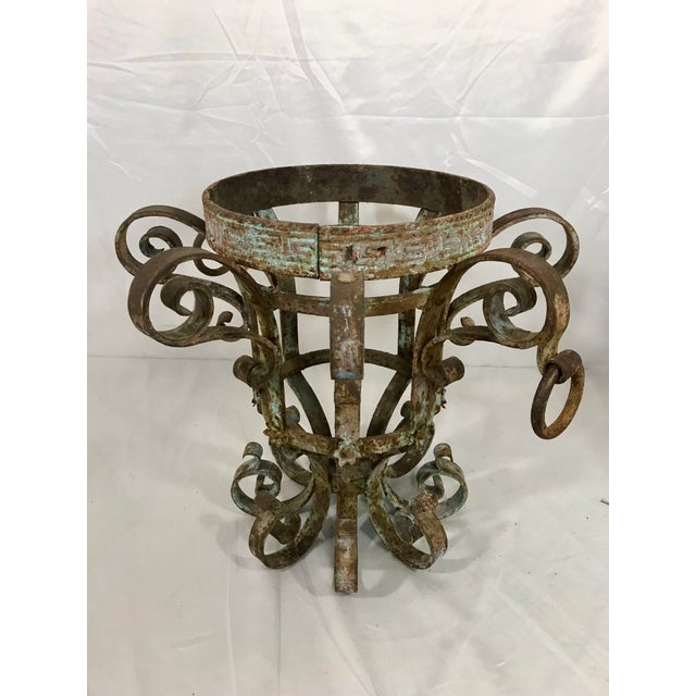 Wrought Iron Fretwork Planters a Pair For Sale - Image 9 of 13