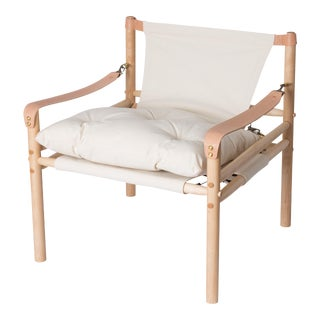 Contemporary 'Sirocco' Bespoke Canvas Leather Safari Lounge Chair by Third Life Designs For Sale