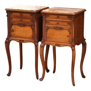 Pair of Early 20th Century Louis XV Carved Oak Nightstands With Marble Top For Sale
