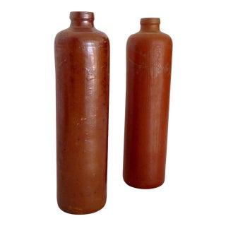 Antique Glazed Pottery Bottles - A Pair