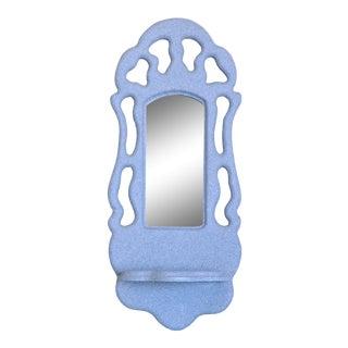 Post Modern Biomorphic Folk Art Wall Mirror With Shelf For Sale