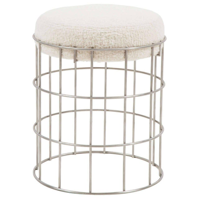 Thomas stainless steel stool. COM requirements: 1 yards. 5% up-charge for contrasting fabrics and or welting. COL...