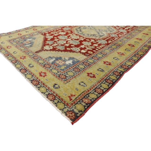 52778 Distressed Vintage Turkish Oushak Rug with Rustic Modern Lodge Style 03'10 x 05'11. Rusticity meets timeless...
