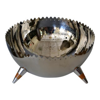 1980s Italian Sculptural Stainless Steel Bowl With Tripod Legs by Alessi For Sale