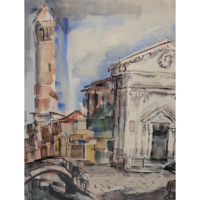 1950s European Street Scene Original Watercolor Painting by Riva Helfond For Sale In San Francisco - Image 6 of 9
