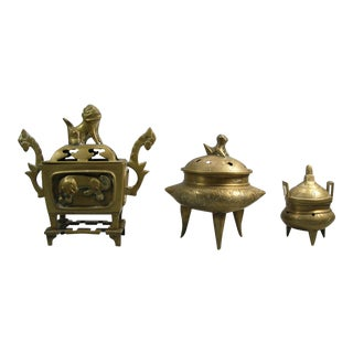 Early 20th Century Three Small Chinese Brass Incense Burners - Set of 3 For Sale