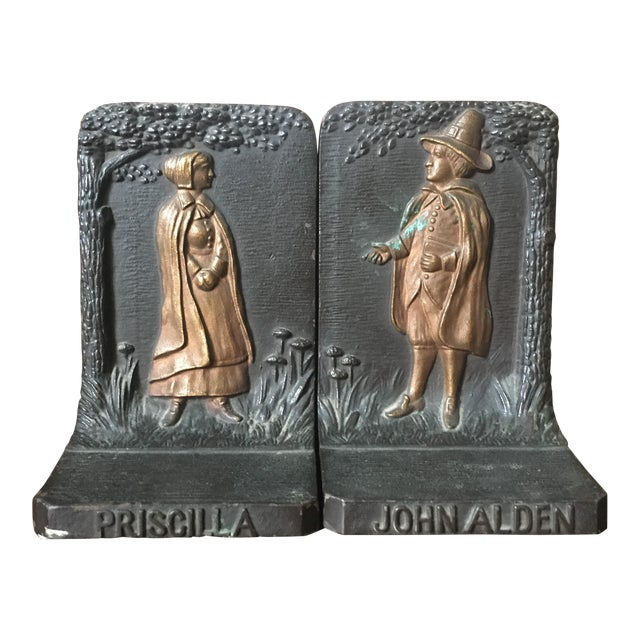 Bradley & Hubbard Cast Iron Pilgrim Bookends - a Pair For Sale