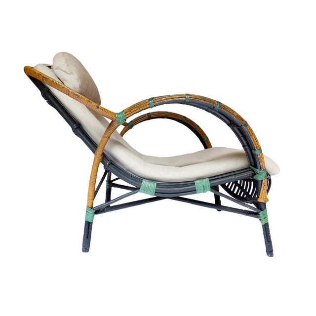 Art Deco Unusual Twin Reed Lounge Chair For Sale - Image 3 of 9