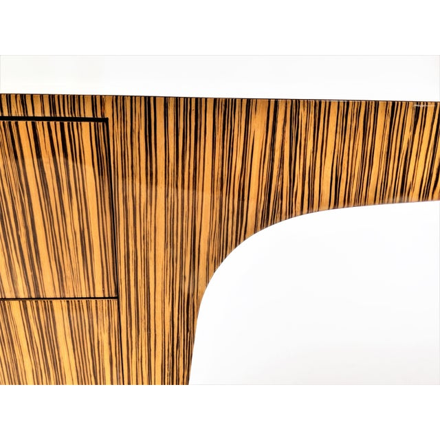 Zebra Wood Modern Cantilever Desk For Sale - Image 11 of 13