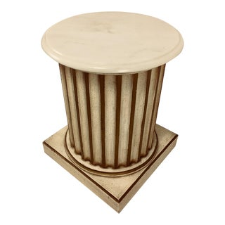 White Carrera Top Column Side Table