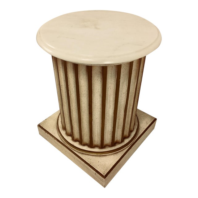 White Carrera Top Column Side Table For Sale