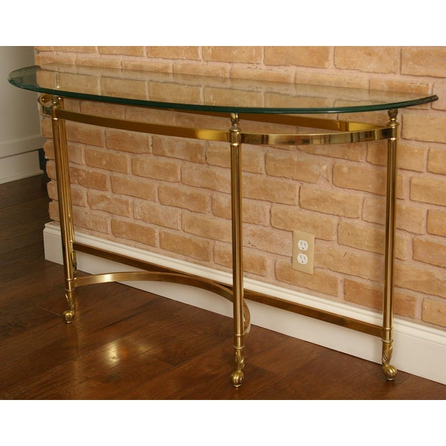 La Barge La Barge Style Vintage Brass and Glass Console For Sale - Image 4 of 7