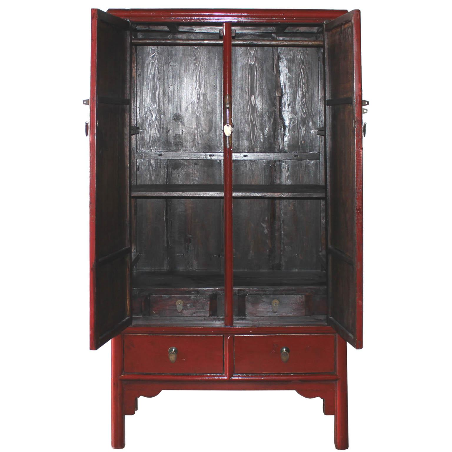 Vintage Chinese Red Lacquer Armoire Wardrobe Chest   Image 3 Of 6