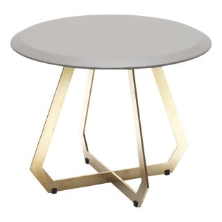 The Fetish Table W/ Warm Grey Leather - Brass / Small For Sale