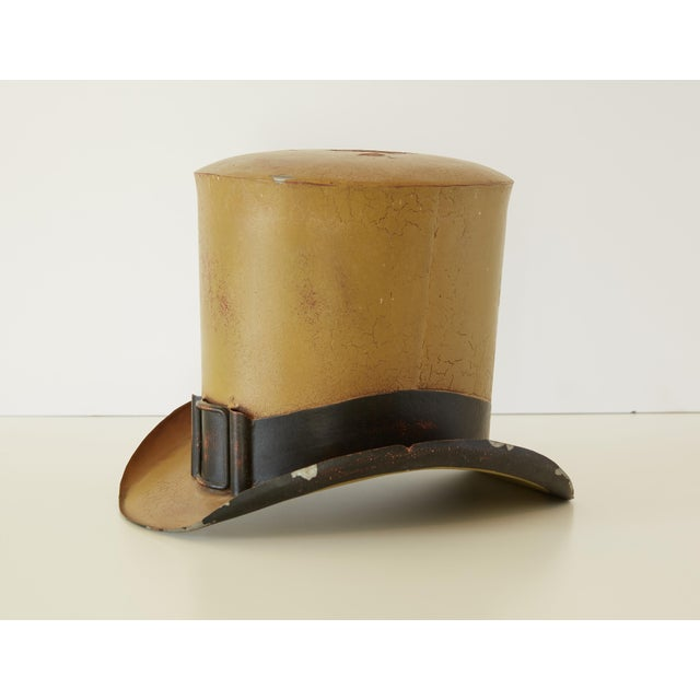 19th century French painted tin trade sign in the form of a top hat. A handsome artifact from the Paris of the 1800s in...