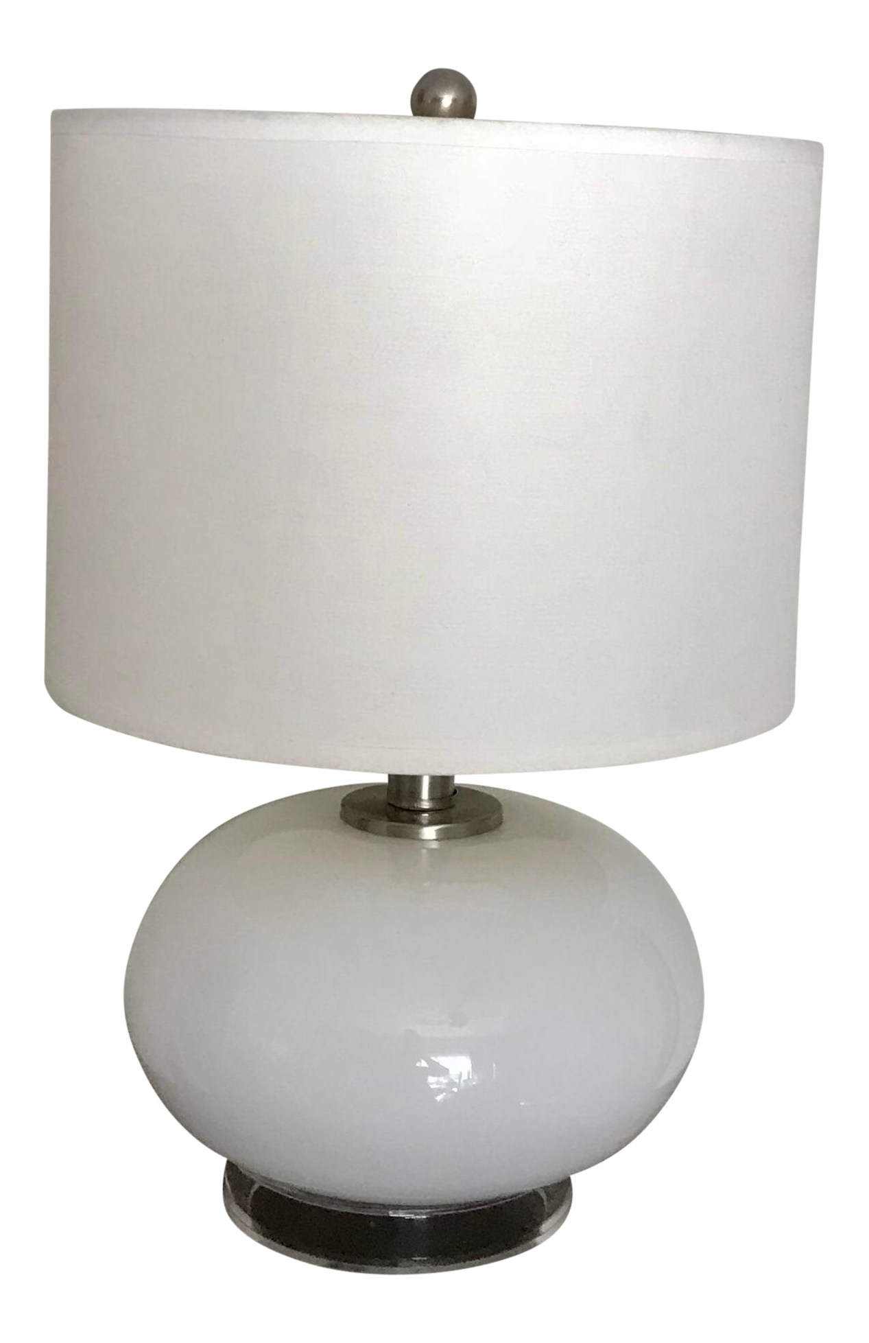White Minimalist Milk Glass And Clear Lucite Base Table Lamp Chairish
