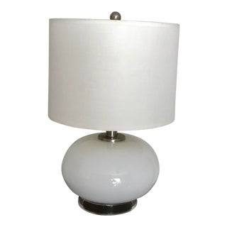 White Minimalist Milk Glass and Clear Lucite Base Table Lamp For Sale
