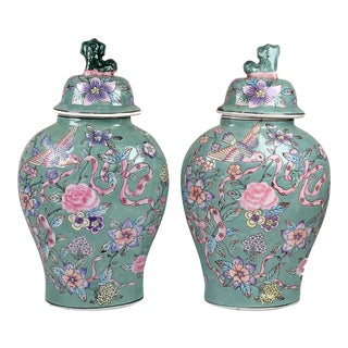 Vintage Chinoiserie Ginger Jars With Foo Dogs on Lid Tops - a Pair For Sale