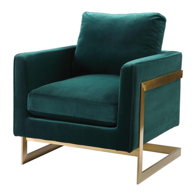 Emerald Green Plush Velvet Accent Chair For Sale In Sacramento - Image 6 of 6