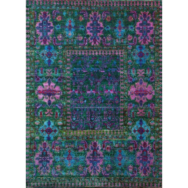 Mid 20th Century Vintage Mid-Century Hand-Knotted Floral Rug - 7′9″ × 9′7″ For Sale - Image 5 of 5