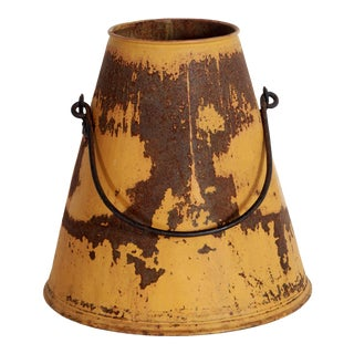 Antique Country Yellow Galvanized Metal Milking Bucket / Vase For Sale