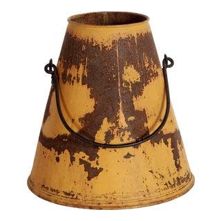 Antique Galvanized Metal Milking Dairy Bucket For Sale