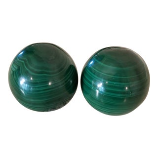 Malachite Carved & Polished Spherical Stones - a Pair For Sale