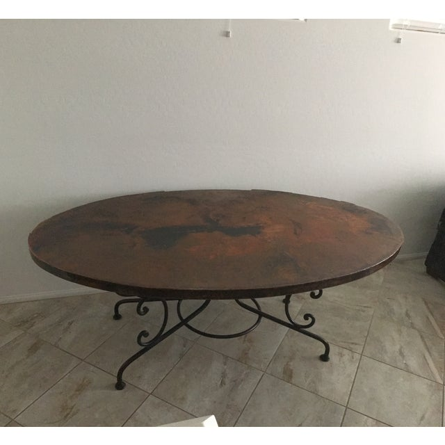 Arhaus Hammered Copper Oval Dining Table - Image 5 of 6