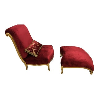 100% Made in Italy Classic Chaise by Caspani Tino Italian Red Velvet Chair and Ottoman For Sale