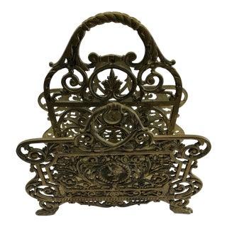 Rococo Brass Magazine Holder For Sale