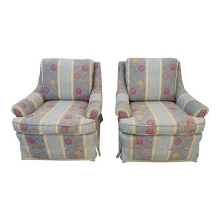 Pair of Large Wide Living Bed Room Fireplace Side Chairs For Sale
