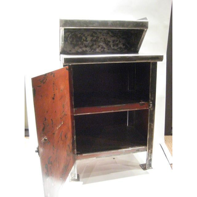 Handsome Industrial Cabinet with internal storage and recessed shelf.