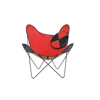 Mid Century Red + Black Vinyl Butterfly Lounge Chair For Sale