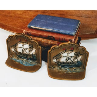 Vintage Cast Iron Ship Bookends Painted - A Pair Preview