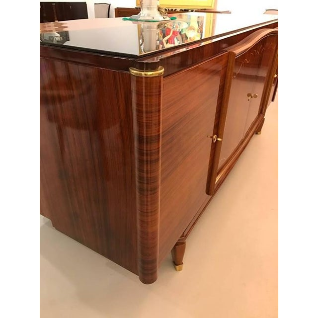 French Art Deco Palisander Buffet with Black Glass Top - Image 5 of 9
