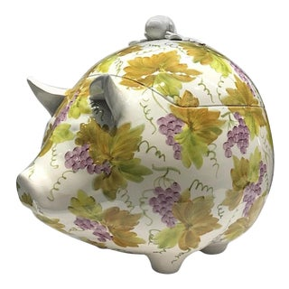 1970s Italian Hand Painted Pig Tureen For Sale