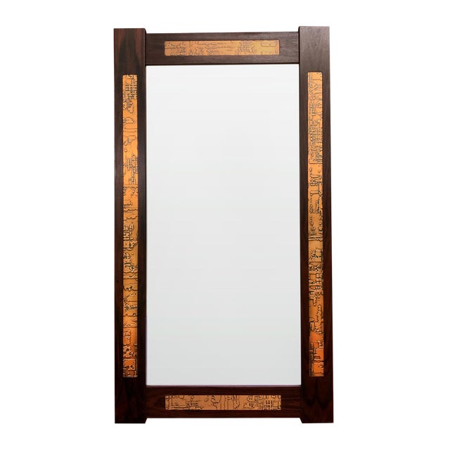 Danish Mid-Century Teak Mirror with Copper Inlays - Image 1 of 4