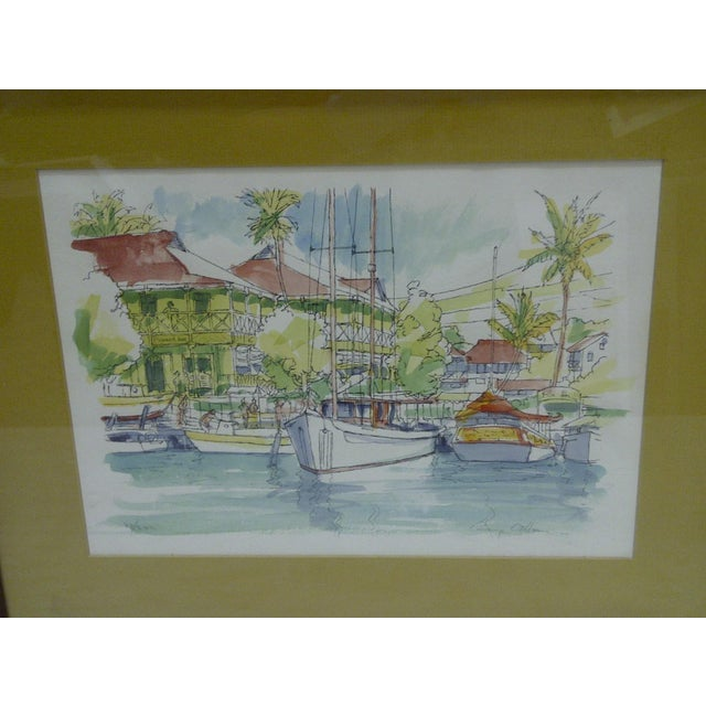 "Americana Limited Numbered (27/200) Signed Framed Print - ""Pioneer Inn Harbor"" by George Allan For Sale - Image 3 of 5"