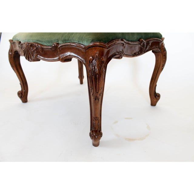 Heritage Velvet French Provincial Ottoman or Footstool For Sale - Image 4 of 8