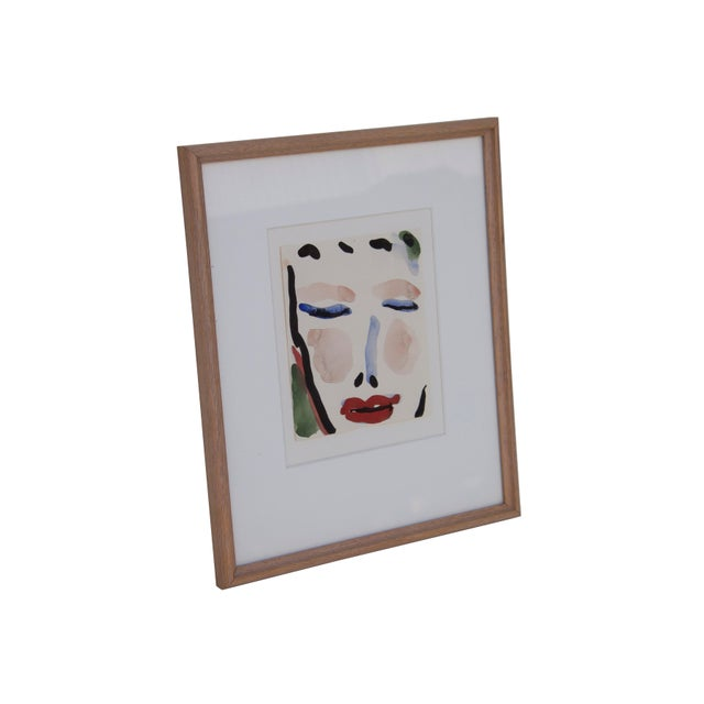 Boho Chic Gestural Watercolor of a Female Face For Sale - Image 3 of 6