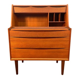 Vintage Danish Mid Century Modern Teak Secretary Desk Vanity For Sale