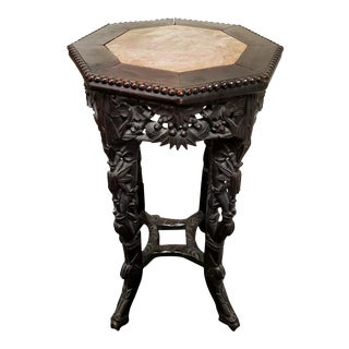 Chinese Carved Rosewood and Marble Display Plant Stand For Sale